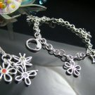 925 Sterling Silver 3 Flowers Tags Necklace&Bracelet