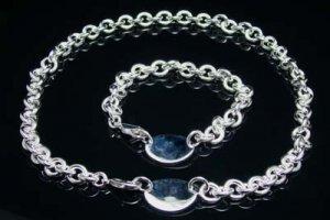 925 Sterling Silver Ogival Tag Necklace&Bracelet