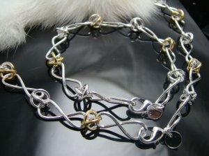 925 Sterling Silver Letter 8 with gold  Necklace&Bracelet DSCO6759