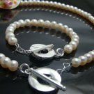 925 Sterling Silver Cream Beads  Necklace&Bracelet DSCO6778