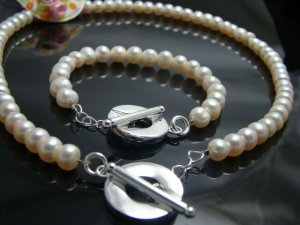 925 Sterling Silver Cream Beads  Necklace&Bracelet DSCO6778