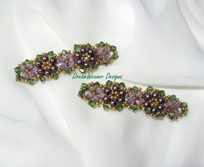 Swarovski Crystal & Pearl ~ Purple Flower Hair Barrette Set of 2 Barrettes