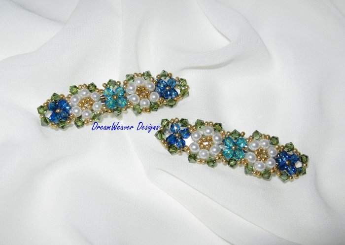 Swarovski Crystal & Pearl ~ Blue Flower Hair Barrette Set of 2 Barrettes