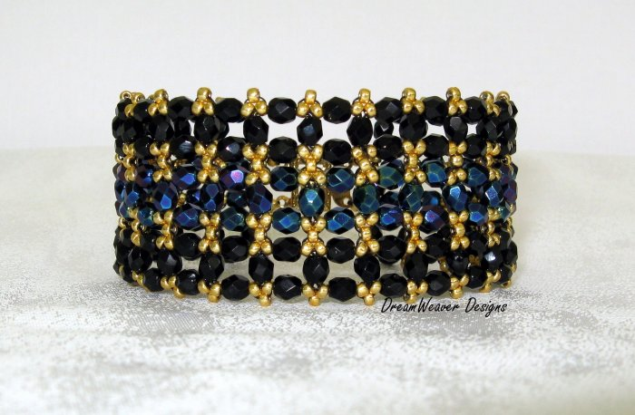 Elegant Jet Black, Blue and Gold Jablonex Czech Bracelet