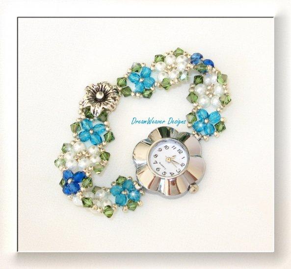 Swarovski Crystal and Pearl Blue Flowers Watch Bracelet