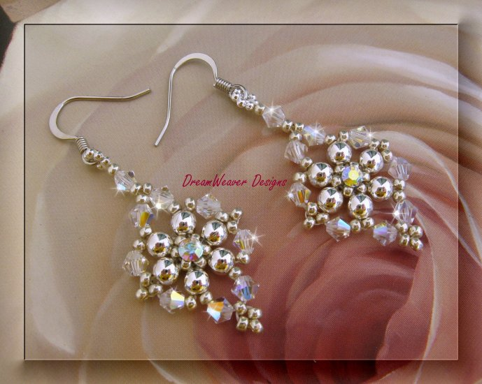 Swarovski Aurora Borealis AB Crystal and Silver Earrings