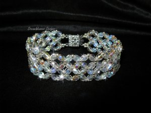 Czech Aurora Borealis AB Crystal Lace and Silver Bracelet