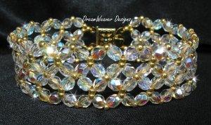 Czech Aurora Borealis AB Crystal Lace and Gold Bracelet