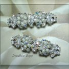 Swarovski Aurora Borealis Crystal & Antique White Pearl Bridal Barrette Set of 2 Barrettes