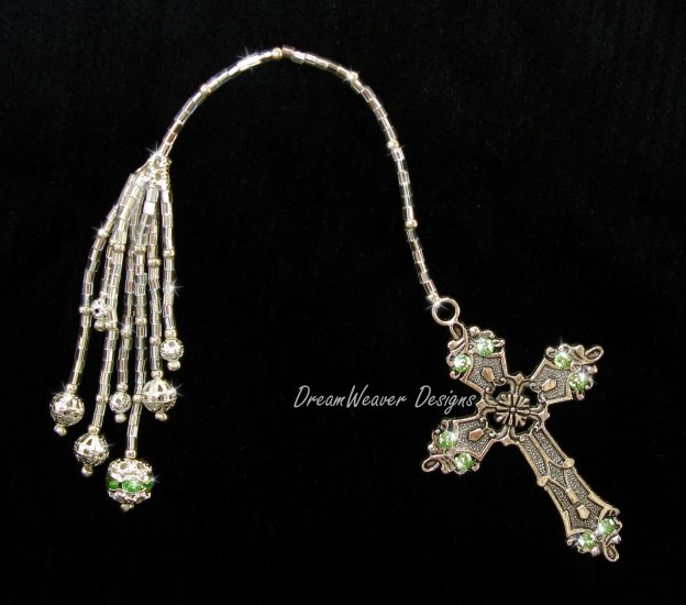 Vintage French Peridot Green Crystal and Antiqued Silver Plate Religious Cross Bookmark
