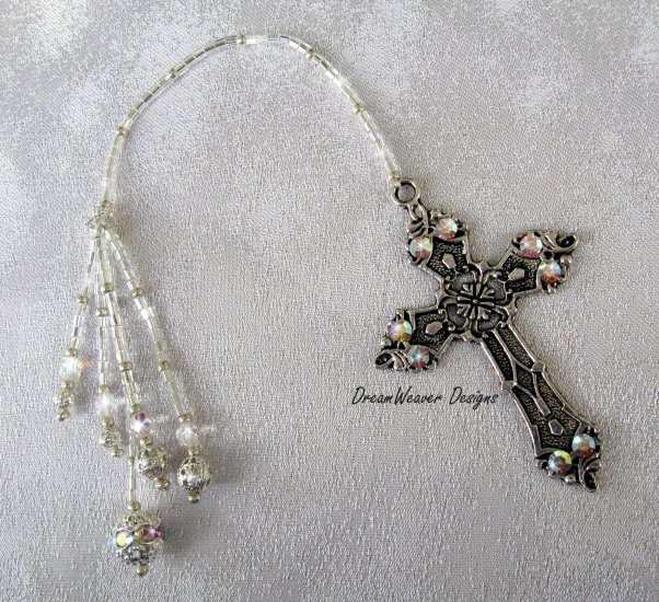 Vintage Swarovski AB Crystal and Antiqued Silver Plate Religious Cross Bookmark