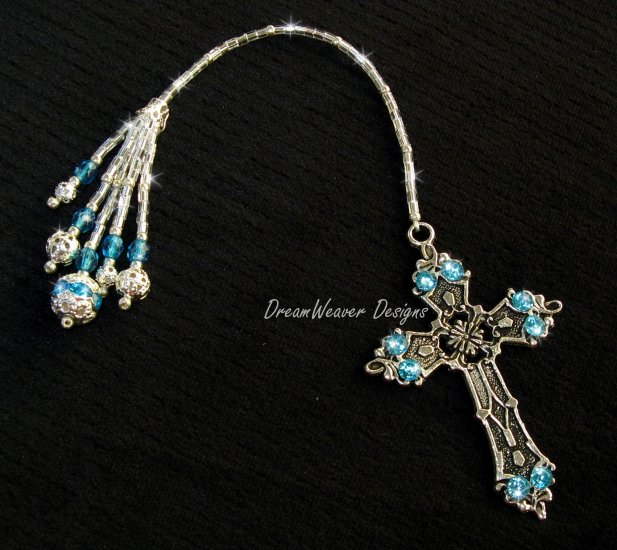 Vintage French Aqua Blue Crystal and Antiqued Silver Plate Religious Cross Bookmark