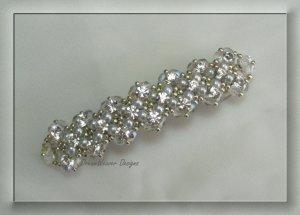 Vintage French Crystal, Silver & White Pearl Bridal Barrette ~ Mi Amore
