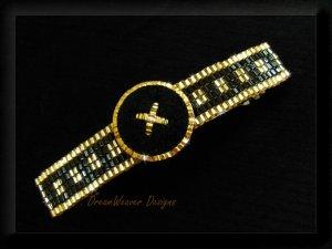 Very Elegant Gold and Jet Black Velvet Large Barrette