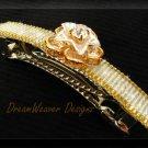 Elegant Aurora Borealis Crystal & Gold Flower Barrette