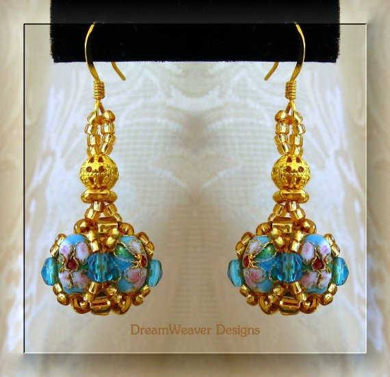 Turquoise Blue Crystal and Gold Cloisonne Marchesa Earrings