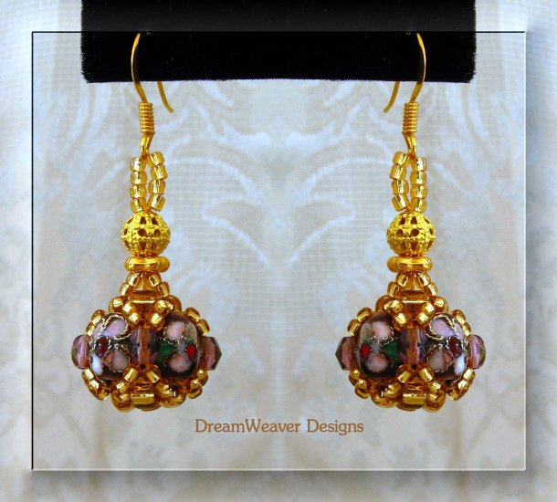 Amethyst Purple Crystal and Gold Cloisonne Marchesa Earrings