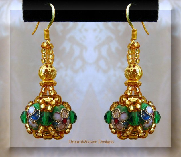 Emerald Green Crystal and Gold Cloisonne Marchesa Earrings