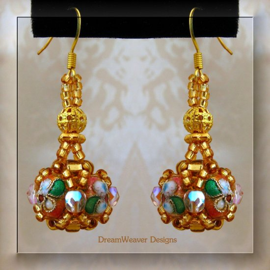 Dusty Pink Rose, Crystal and Gold Cloisonne Marchesa Earrings