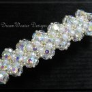 Vintage Swarovski Aurora Borealis AB Crystal & White Pearl Bridal Barrette ~ Wedding Bliss