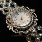 Vintage Swarovski Aurora Borealis AB Crystal Lace Silver Watch Bracelet
