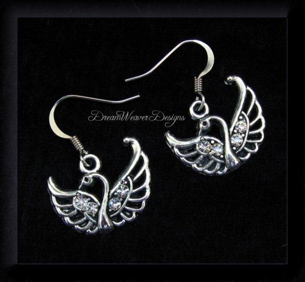 Vintage Swarovski Crystal and Silver Swan Earrings