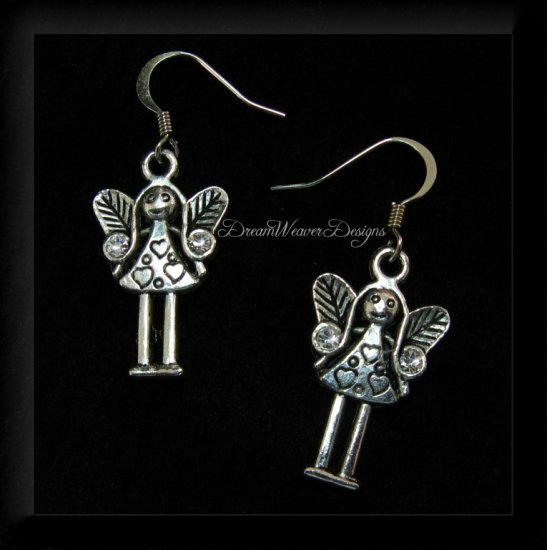 Swarovski Crystal & Silver Angel Girl with Heart Earrings