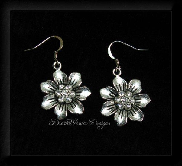 Vintage Swarovski Crystal and Silver Flower Earrings