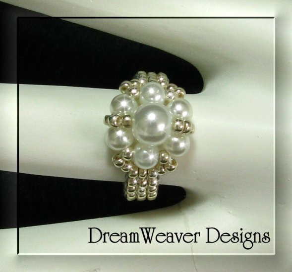 Silver Bead and White Pearls Flower Cluster Ring