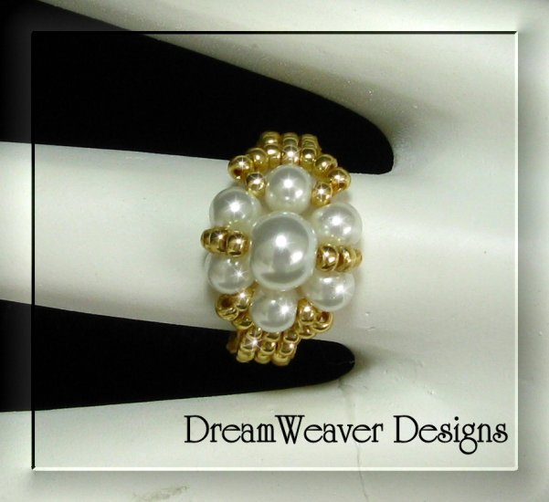 Gold Bead and White Pearls Flower Cluster Ring