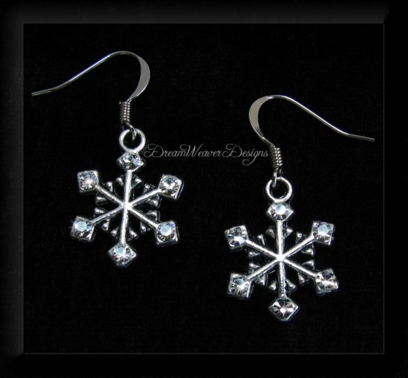 Full of Sparkle Vintage Swarovski Crystal and Silver Snowflake Earrings