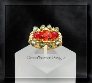 Swarovski Ruby Red and Peridot Green Crystal Gold Beaded Ring