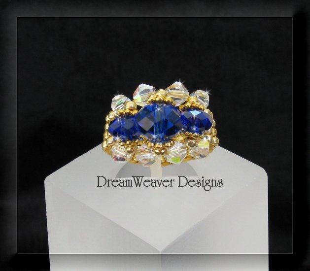 Swarovski Sapphire Blue and Aurora Borealis AB Crystal Gold Beaded Ring