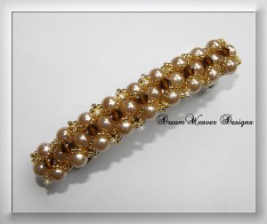 Swarovski Topaz Crystal, Golden Pearl and Gold Barrette