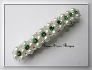 Swarovski Emerald Green Crystal, White Pearl and Silver Barrette