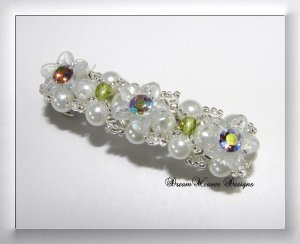 Swarovski Silver Topaz AB Crystal and White Pearl Flower Bridal Barrette