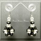 Jet Black Celestial Crystal and Silver Bead Dangle Earrings
