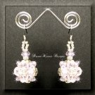 Light Pink Celestial Crystal and Silver Bead Dangle Earrings