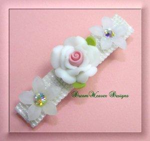 White Rose and Vintage Swarovski Crystal Flower Bridal Barrette