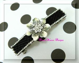 Vintage Swarovski Crystal Silver Flower and Jet Black Barrette