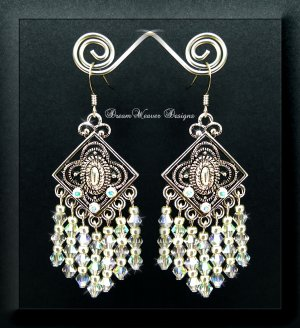 Swarovski AB Aurora Borealis Crystal and Silver Chandelier Earrings