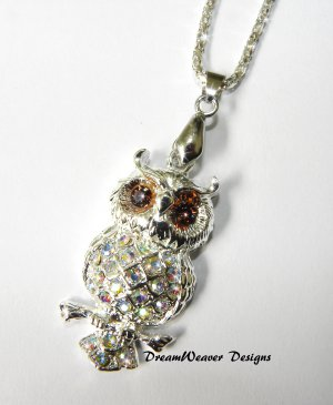 Swarovski AB and Amber Crystal Silver Owl Pendant with Chain