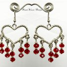 Silver Twisted Heart and Ruby Red Swarovski Crystal Dangle Earrings