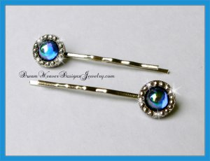 Aurora Borealis Blue Sapphire Crystal with Marcasite Hair Pins Bobby Pins Hair Jewelry