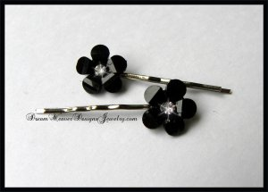 Black Flower with Clear Crystal Hair Pins Bobby Pins Hair Jewelry