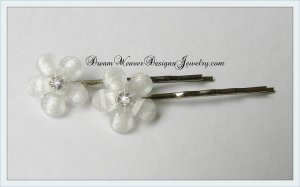 White Flower with Clear Crystal Hair Pins Bobby Pins Hair Jewelry