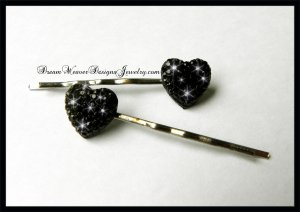 Black Sparkle Heart Hair Pins Bobby Pins Hair Jewelry