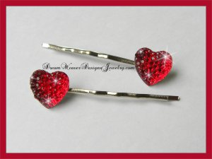 Red Sparkle Heart Hair Pins Bobby Pins Hair Jewelry