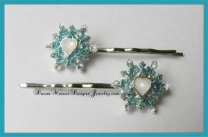 Aqua, Silver and Crystal Ice Princess Hair Pins Bobby Pins Hair Jewelry