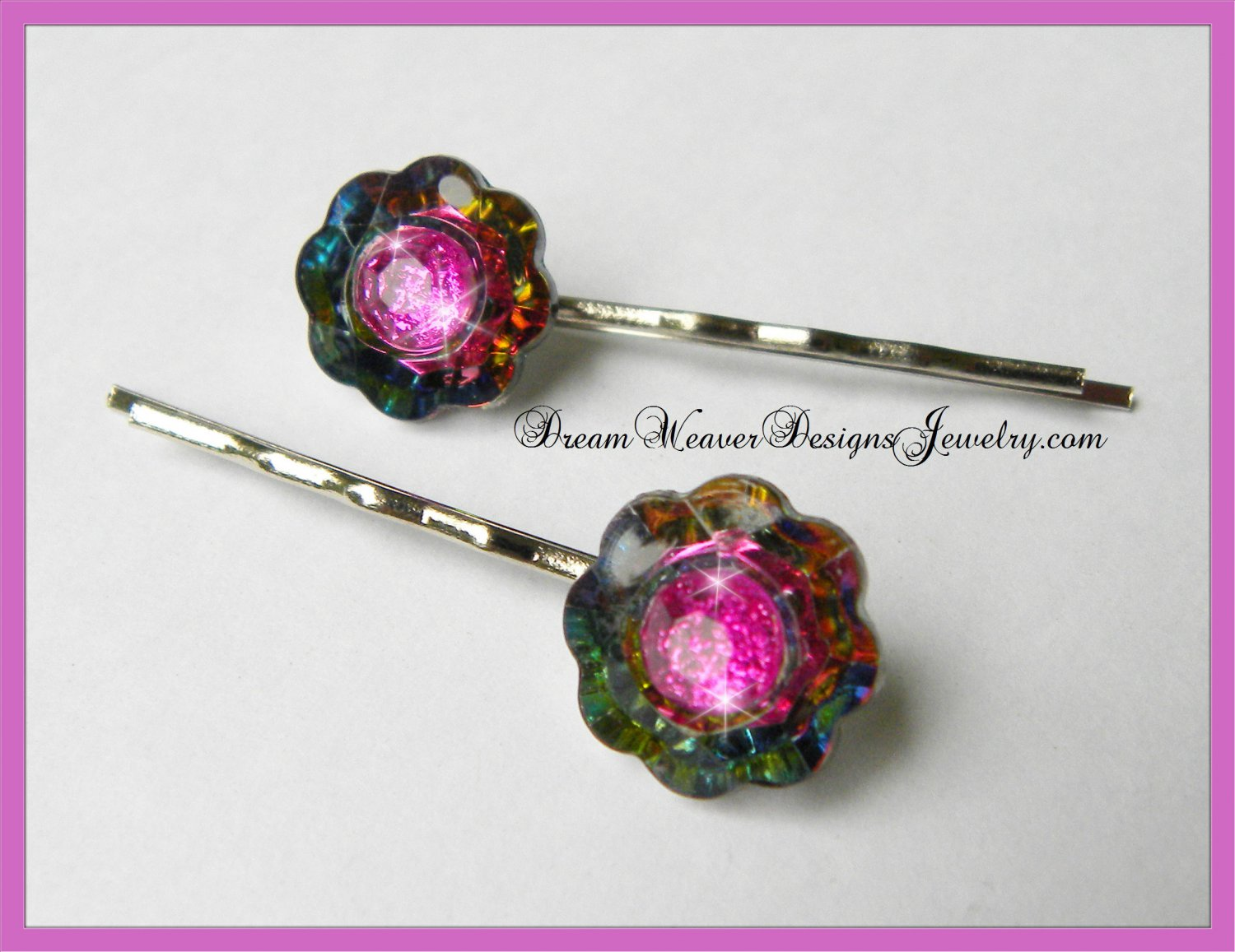Multi Color Flower and Hot Pink Crystal Vintage Hair Pins Bobby Pins Hair Jewelry